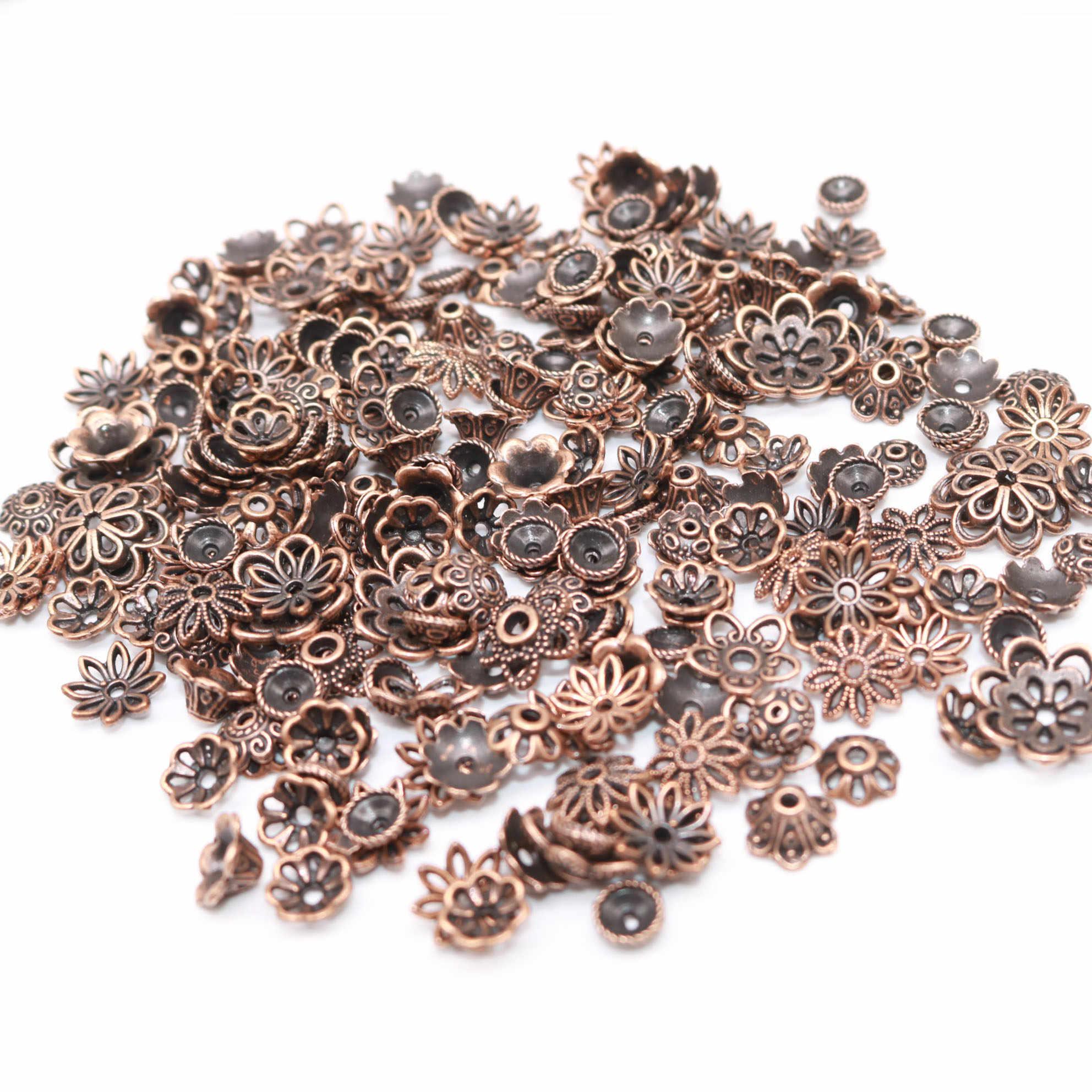 50/100 sztuk mieszane rozmiar tybetański antyczne srebro kolor kwiatowy koralik robótki Diy akcesoria zaślepki do komponenty do wyrobu biżuterii