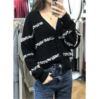 Jumper Real Wool 2019 Winter New Arrival Women's V neck Sweater Beads Sleeve Solid Color Cardigan Single Breasted Warm Woman