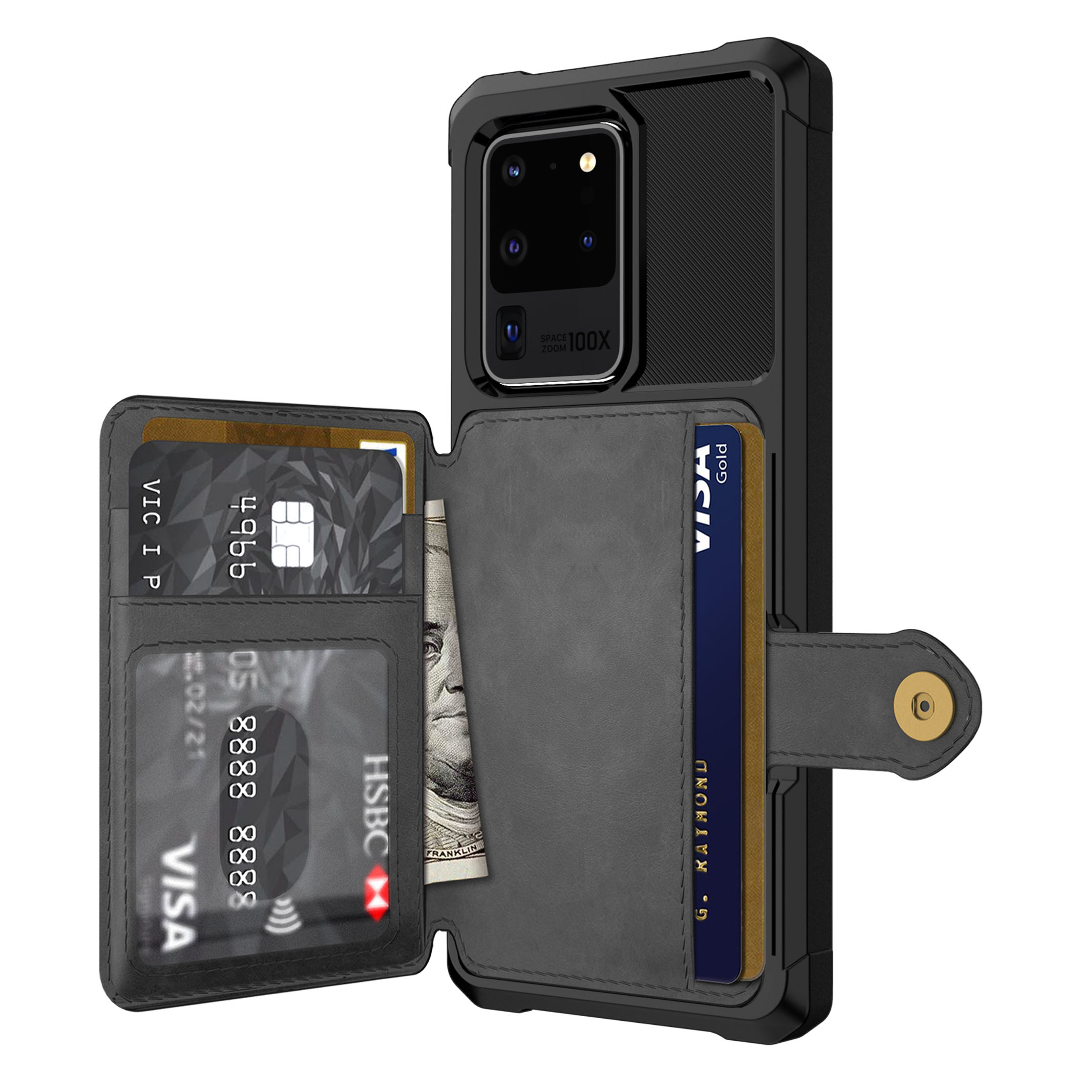 for Samsung Galaxy S20 Ultra S10 S9 Plus S10e Credit Card Case PU Leather Flip Wallet Cover with Photo Holder Hard Back Cover