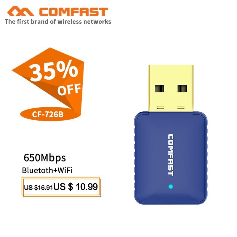 Comfast CF-726B 650Mbps Mini USB Wireless Wifi Adapter 5.8Ghz Ac Network LAN Card PC Bluetooth 4.2 Wifi Receive Transmit Dongle