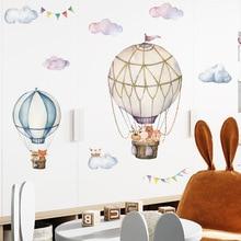 Cartoon Kids room Wall Decor Wall Stickers Hot Air Balloon Vinyl Wall Decals for Home Decoration Art Murals Sticker Wallpaper