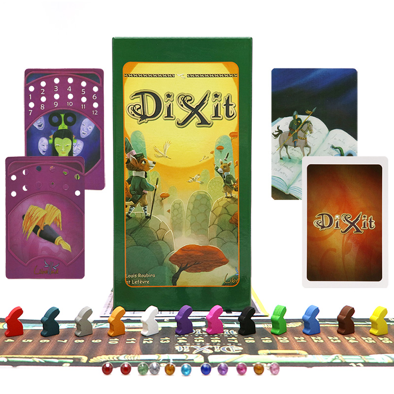 Dixit 1+2+3+4+5+6+7+8 Card Game 672 Cards Wooden Rabbits Kids Toys For Family Party Table Game Russian & English Board Game