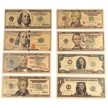8 шт./лот с покрытыем цвета чистого 24 каратного золота долларов памятные заметки поддельные деньги золотой антикварный коллекция для детей 1...