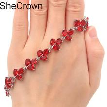 Fantastic Red Blood Ruby Woman's Present Silver Bracelet 7.5-8.0in 16x13mm