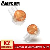 AMPCOM-terminales de conexión de crimpado Rj45, conectores K2 impermeables, terminales de Cable de red K2, 100 Uds.