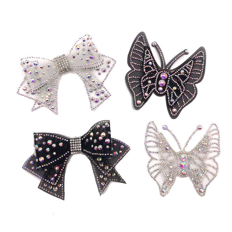 1 Pieces 3D DIY Diamond Mesh Butterfly Stereo Double Layer Butterfly Lace Applique Fabric Dress Decoration Hat Shoes Trim