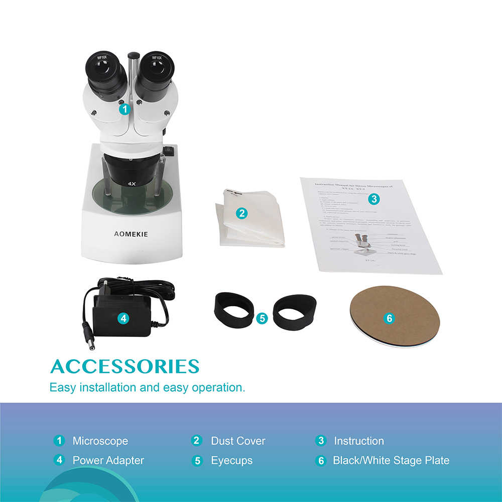 AOMEKIE Microscope Stéréo Industriel 20X/40X pour PCB Sloder Téléphone Portable Réparation Microscope Binoculaire Haut/Bas LED RU Entrepôt