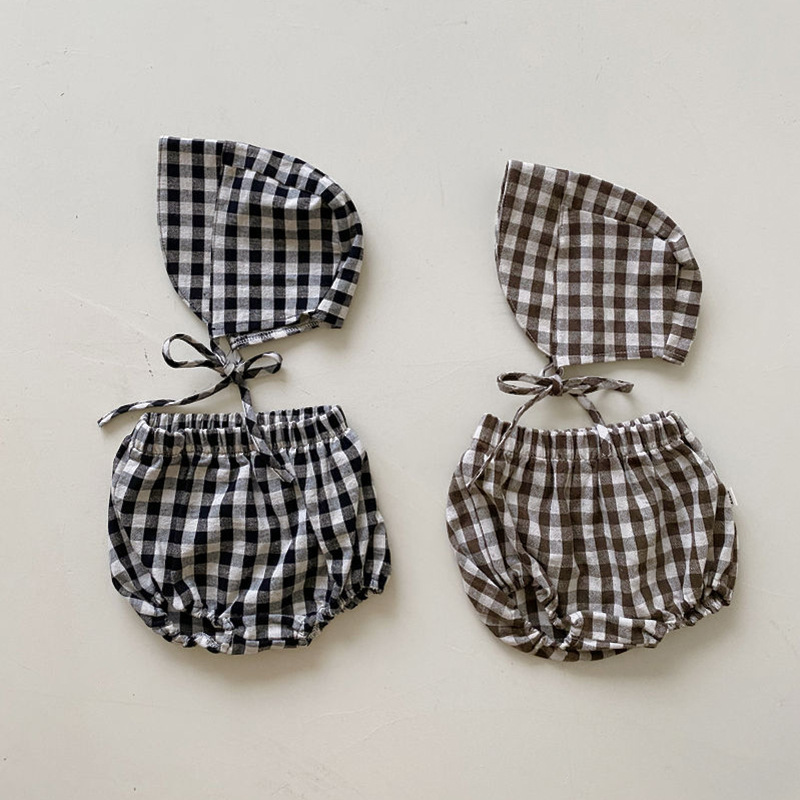 Newborn Baby Girl Clothes Sets for Baby Boys Plaid Bloomers+Hat Summer 2Pcs Outfits Baby Linen Shorts Suit Korean Baby Clothes