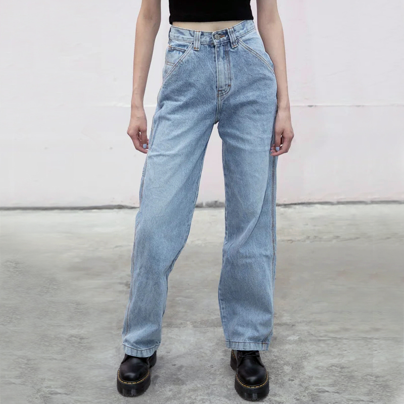 Women High Waist Relaxed Fit Light Wash Denim Jeans With Hammer Loop Detail