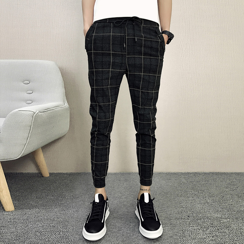 2020 New Style Fashion Male  Elastic Waistline Leisure Joggers Sweatpants/Men High-grade Pure Cotton Tight Grid Pencil Pants