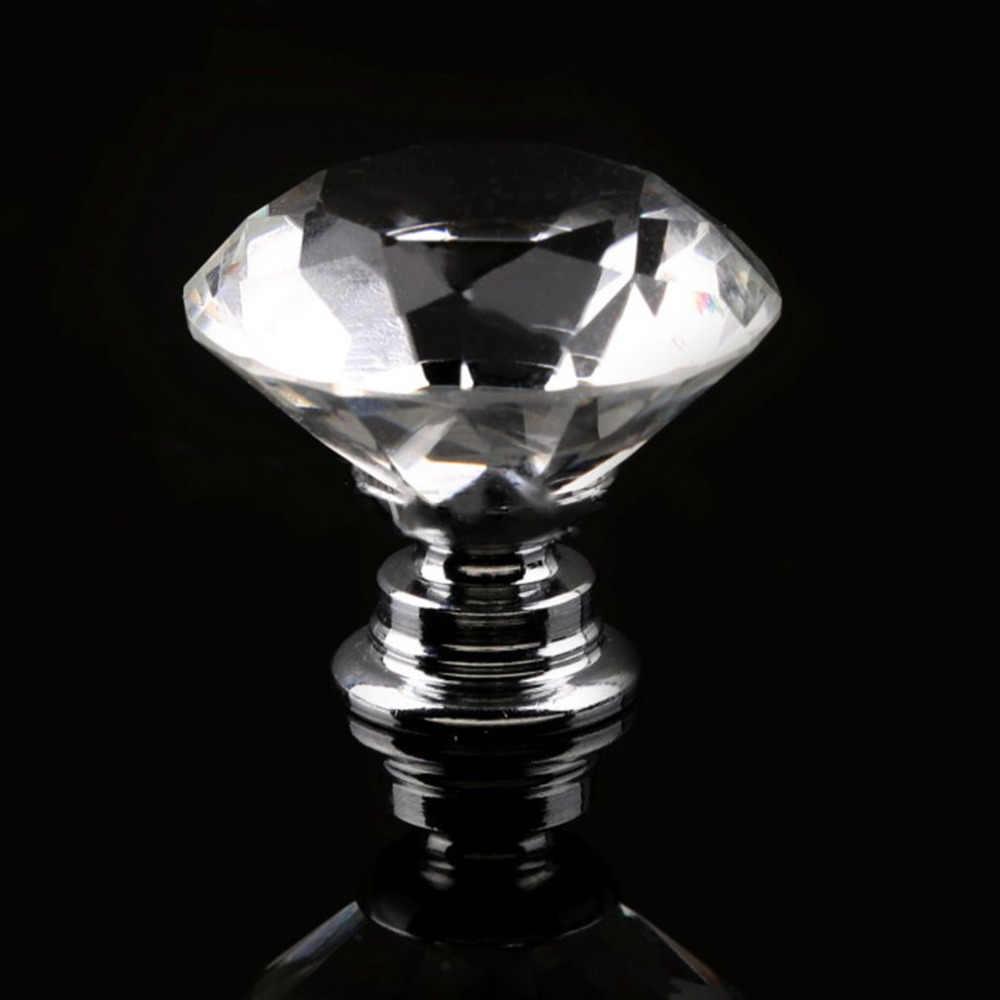 30 millimetri di Cristallo Viola di Vetro Del Diamante Placcato Porta Manopole Maniglie Del Cassetto Del Governo manopole + Vite Porta Armadio Ferramenteria E Attrezzi