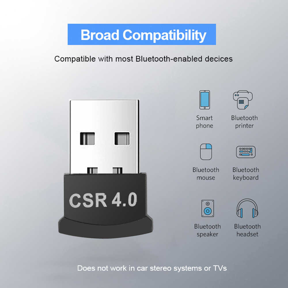 Kebidumei, adaptador inalámbrico USB Bluetooth 4,0, adaptador de Bluetooth Transmisor receptor de sonido de música para ordenador portátil