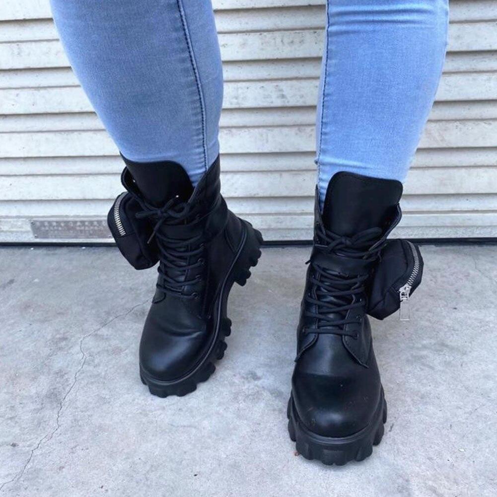 Di marca Nuovi Tacchi Quadrati Della Piattaforma Decorazione Borsa di stile Militare falso stivali in pelle di Moda Scarpe Delle Donne di Inverno Derby stivali Femminile