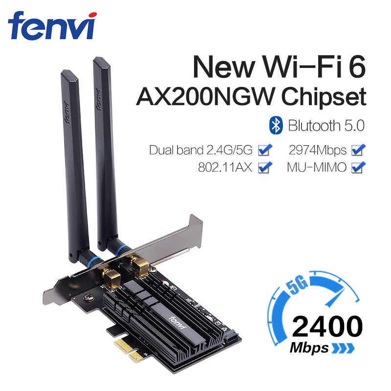 Dual band 3000Mbps Wifi 6 Intel AX200 PCIe Scheda di Rete Wireless 2.4G/5Ghz 802.11ac/ax Bluetooth 5.0 AX200NGW Wi-Fi Card Per PC