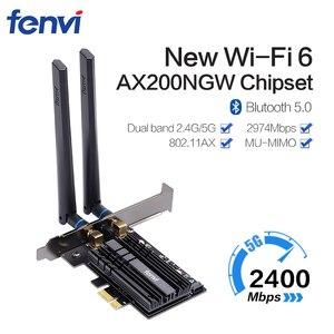 Image 1 - 듀얼 밴드 무선 와이파이 어댑터 AX200NGW 2.4G/5Ghz 802.11ac/ax 블루투스 5.0, 와이파이 카드 3000Mbps 와이파이 6 인텔 AX200 PCIe PC용