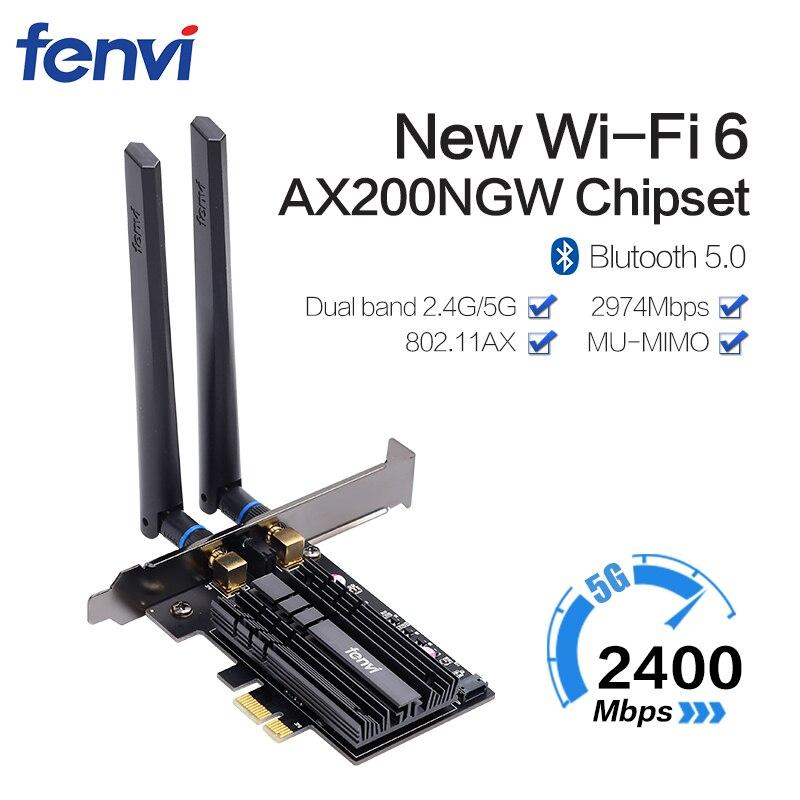 Banda dupla 2400 mbps wifi 6 ax200ngw pci-e 1x adaptador sem fio 2.4g/5 ghz 802.11ac/ax bluetooth 5.0 para a placa de rede ax200