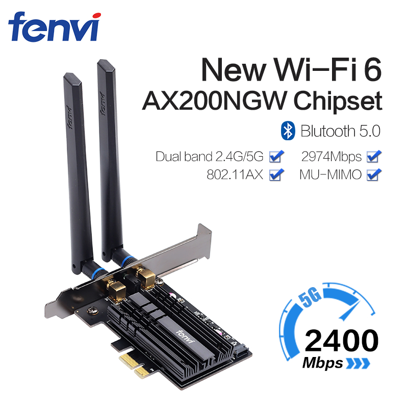 Dual band 2400Mbps Wifi 6 AX200NGW PCI-E 1X Wireless Adapter 2.4G/5Ghz 802.11ac/ax Bluetooth 5.0 For AX200 Network Card