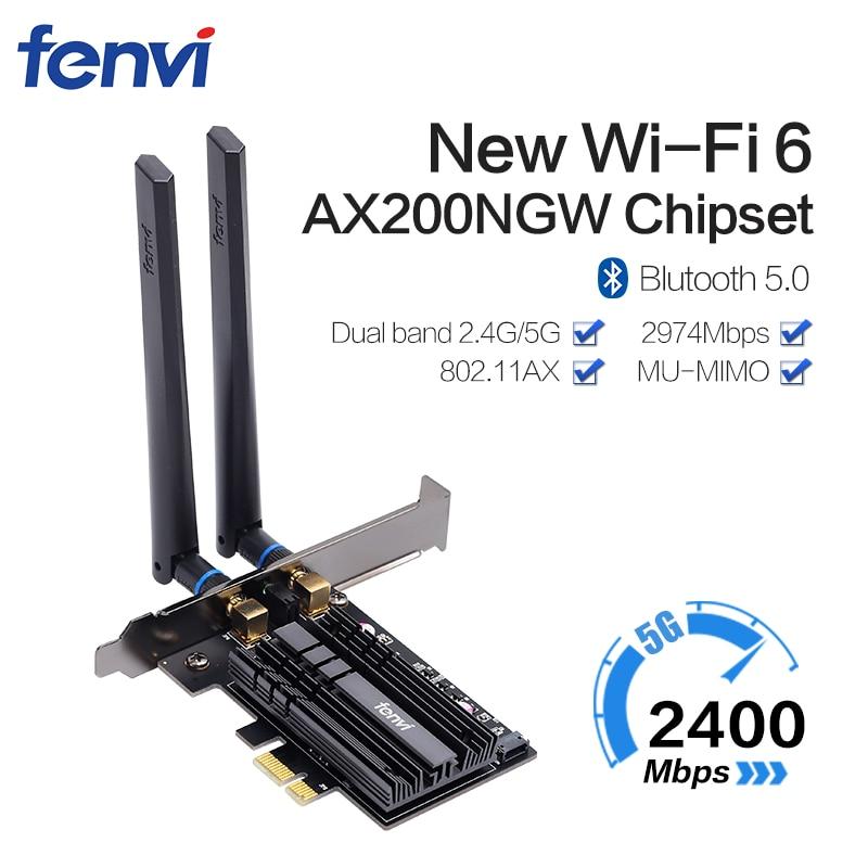 Двухдиапазонный беспроводной Wifi адаптер 2974 Мбит/с Wifi6 Intel AX200 PCIe 2,4 ГГц/5 ГГц 802.11ac/ax Bluetooth 5,0 AX200NGW для настольных ПК