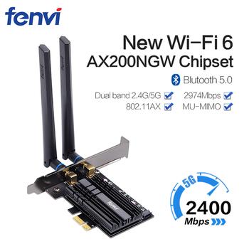 Dwuzakresowy 2400Mbps Wifi 6 AX200NGW PCI-E 1X Adapter bezprzewodowy 2 4G 5Ghz 802 11ac ax Bluetooth 5 0 dla AX200 karta sieciowa tanie i dobre opinie Fenvi 2974Mbps Wewnętrzny wireless 1000 m ethernet Pulpit CE Rohs 802 11n 802 11a g Pci express 2 4G i 5G Gigabit ethernet