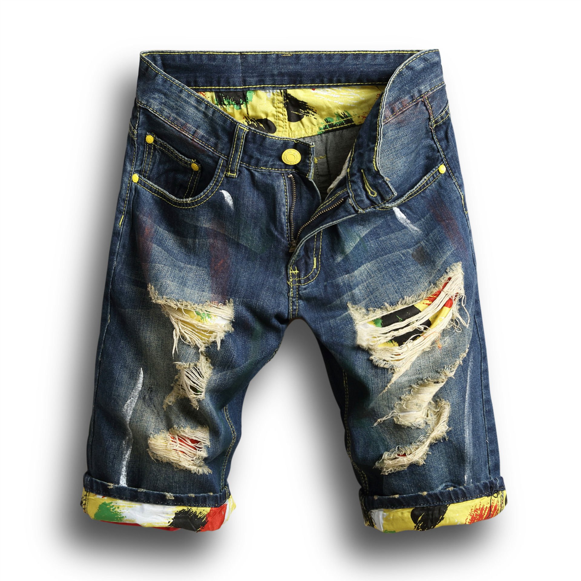 Male Summer Clothing Broken Hole Breathable Stright Denim Shorts Mens Casual Ripped Crimping Fashion Short Homme Jeans Blue 2019