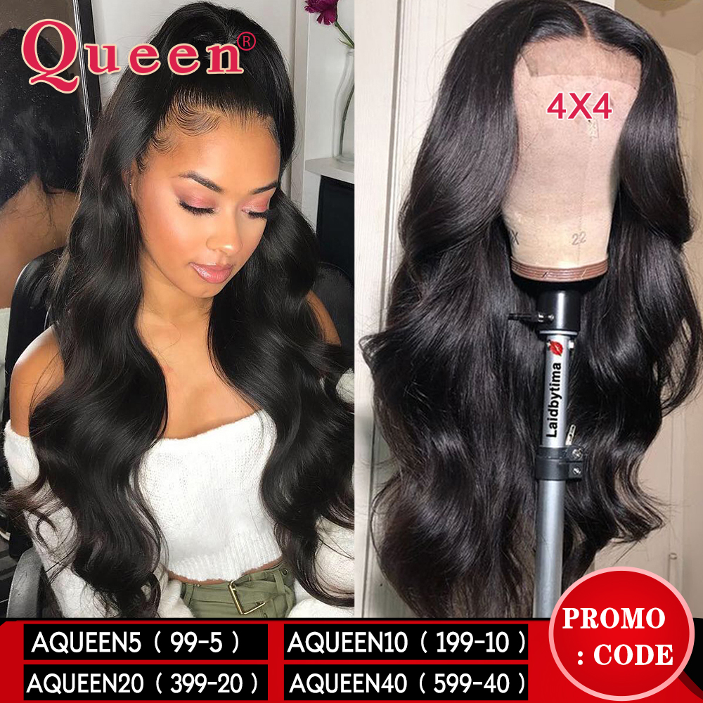 Body Wave 4*4 Lace Closure Human Hair Wigs For Women Brazilian Remy Hair Wigs With Baby Hair Lace Closure Wigs Queen Hair