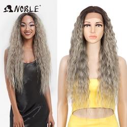 Perruque Lace Front Wig bouclée longue 30 pouces-Noble, perruque frontale à dentelle synthétique de Cosplay avec dégradé, perruque Blonde pour femmes de teint noir