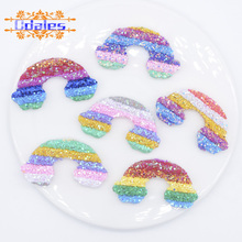 6Pcs 55mm Bling bling Sequins Pipe Rainbow  Patches for Baby Girls Headwear DIY Crafts Supply Kids Hairclip Hat Shoes Accessory