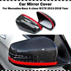 Línea Roja estilo fibra de carbono espejo trasero cubre para benz Clase A200 A220 A250 2013-año 2018 w176 A45 AMG reemplazo espejo tapa