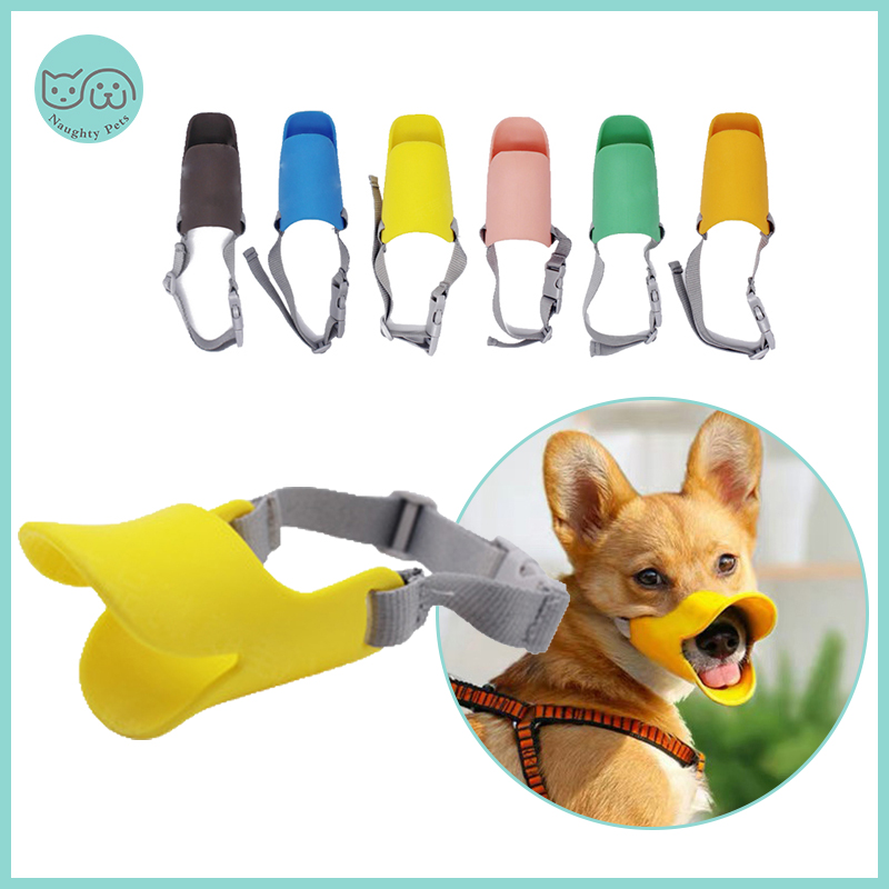 Dog Muzzle Silicone Cute Duck Muzzle Mask For Dogs Anti Bite Stop Barking Small Large Dog Mouth Muzzles  Pet Dog Accessories