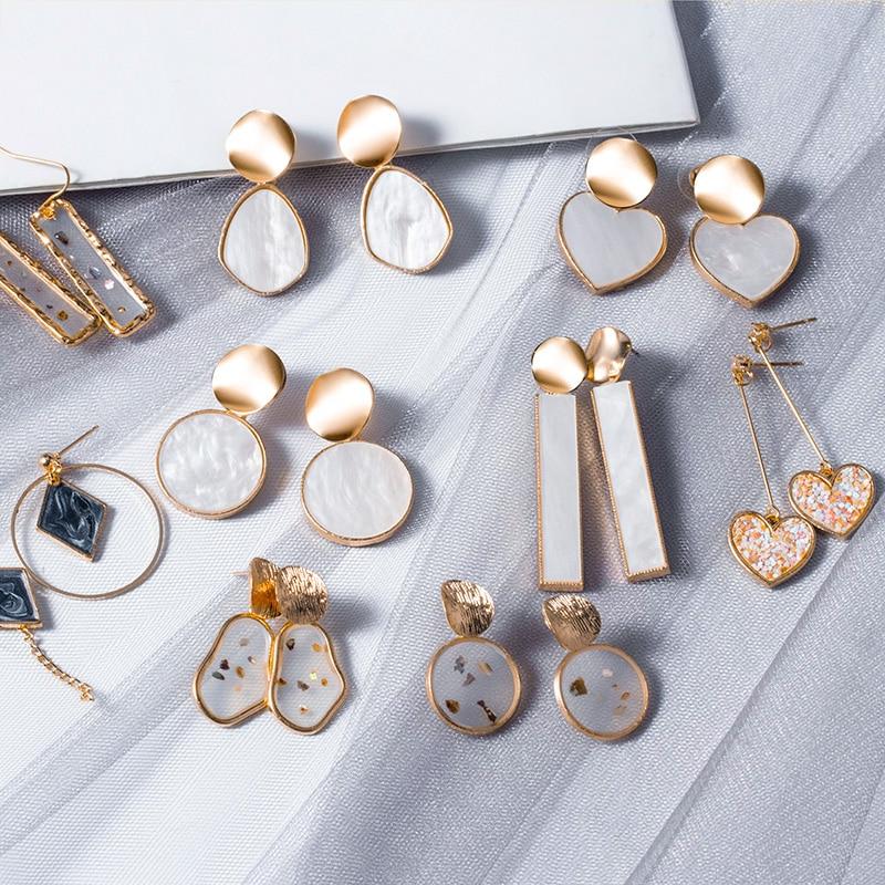 LOVR New Korean Statement Drop Earrings For Women Fashion Vintage Geometric Long Dangle Earrings 2020 kolczyki Female Jewelry