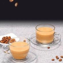 Европейский прозрачный кофейный комплект из чашки и блюдца бытовой ароматизированный чай чашка Термостойкое Стекло эспрессо капучино латте воды молока