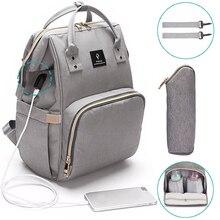 Torby na pieluchy dla niemowląt USB duża torba na pieluchy dziecko torba na zakupy moda wodoodporna torba dla mamy plecak podróżny dla mamy
