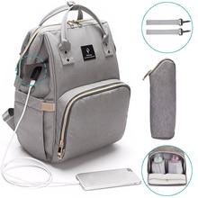 USB الطفل أكياس حفاظات كبيرة الحفاض حقيبة الطفل ترقية موضة مقاوم للماء حقيبة المومياء الأمومة حقيبة السفر حقيبة يد التمريض للأم