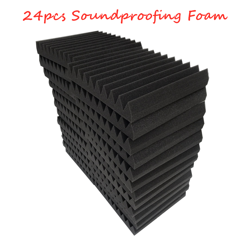 24pcs Flame Retardant Soundproofing Foam Acoustic Foam Sound Treatment Studio Room Absorption Wedge Tiles Polyurethane 30X30X5cm