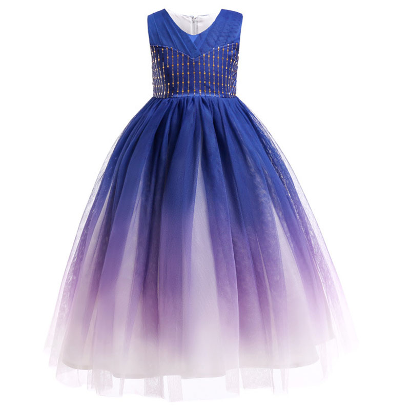 2019 Long Flower Dresses For Girls Sequin Ball Gown Party Wedding Dress Girl Clothing Princess Costume 2 4 6 8 10  Year