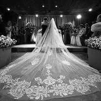 Luxury Sparkle Shine Lace Wedding Veil 350cm Cathedral Length Bridal Veils Bride Wedding Accessories