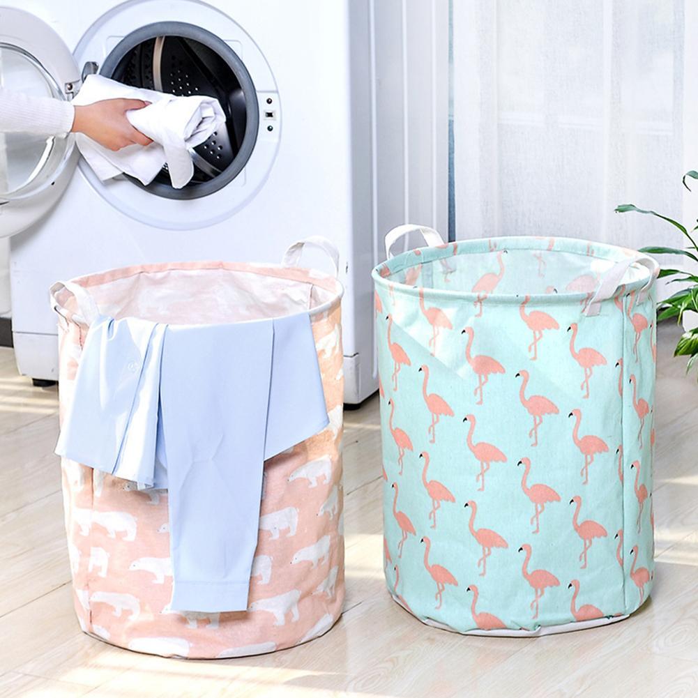 Foldable Cotton Linen Dirty Laundry Basket Clothes Toy Storage Bag