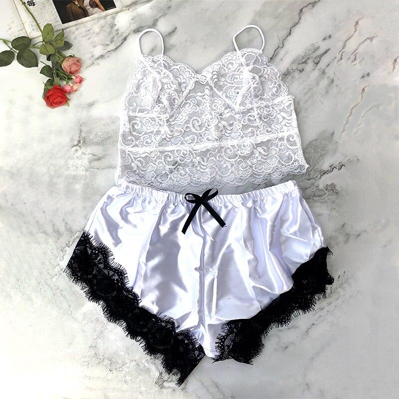Women Sleeveless Sexy Lingerie White Underwear Sling Lace Racy Lenceria Porno Mujer Sexi Sleepwear-set Sexy Hot Erotic Chemises