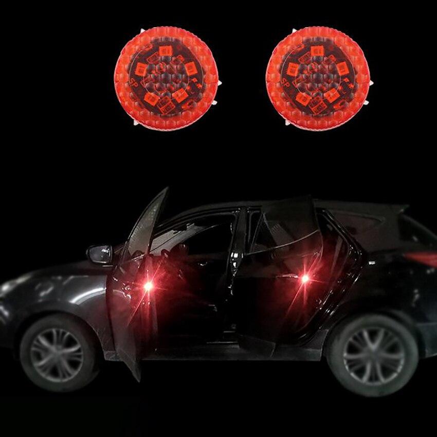 1 Pair Car Door Warning Lights 5 LED, Flashing Light, Built-in Magnetic Sensor, Anti-collision Waterproof Warning Strobe Lights