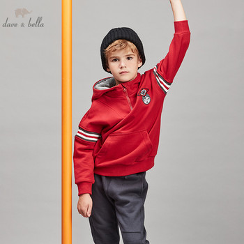 DBK11268 dave bella autumn winter kids boys t-shirt hooded long sleeve tee tops print pullover infant toddler high quality
