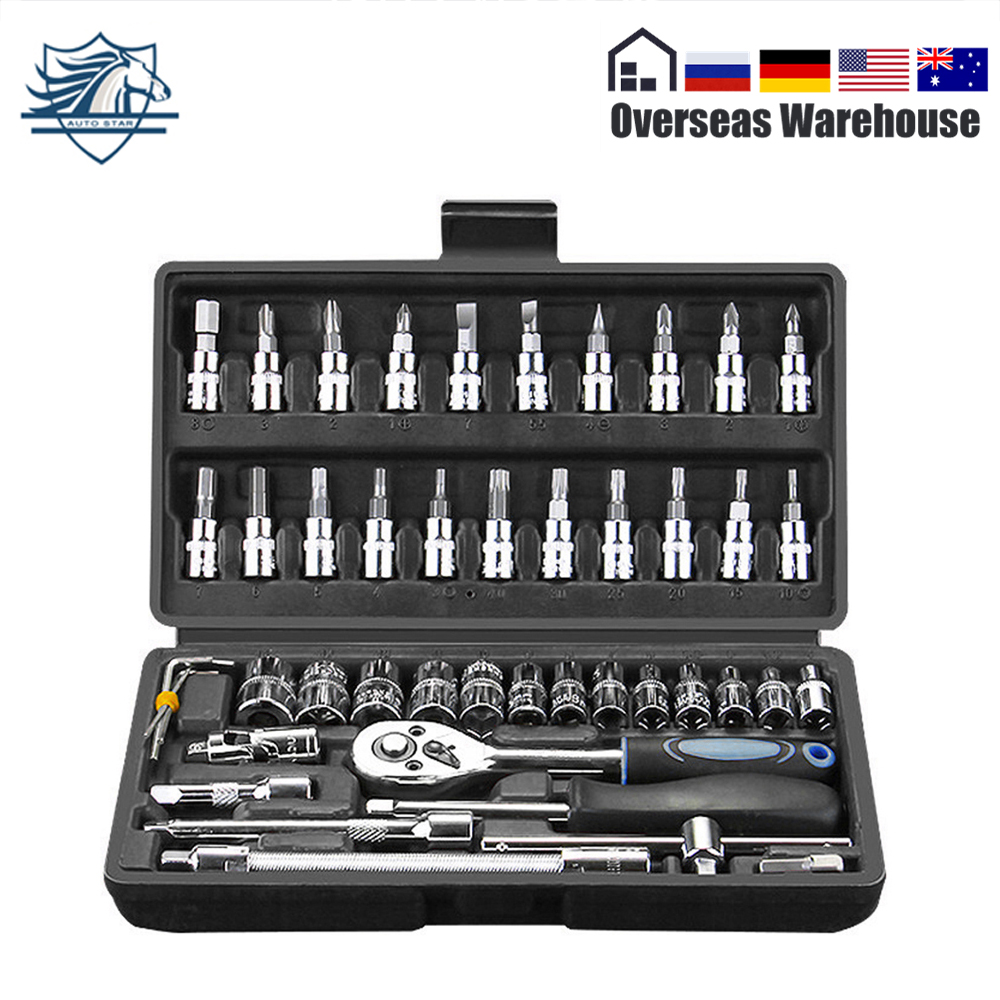 46pcs Car Repair Tool Kit 1/4-Inch Household Socket Set Ratchet Torque Wrench Combo Tools Kit Auto Repairing Tool Set