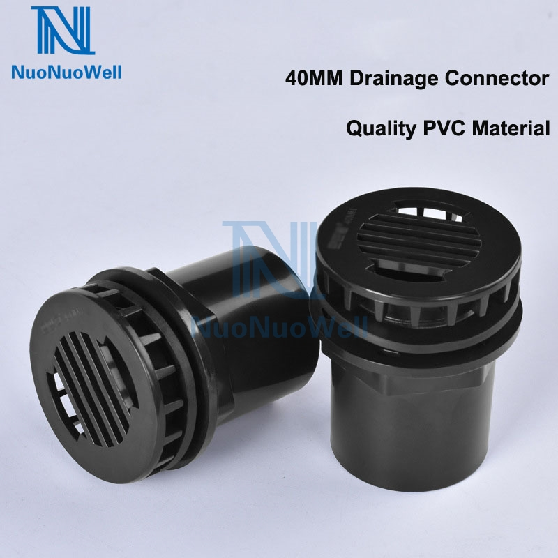 NuoNuoWell Aquarium Water Outlet Straight Drain Connector 40mm Bulkhead Pipe Joint PVC Waterproof Fish Tank Accessories Black