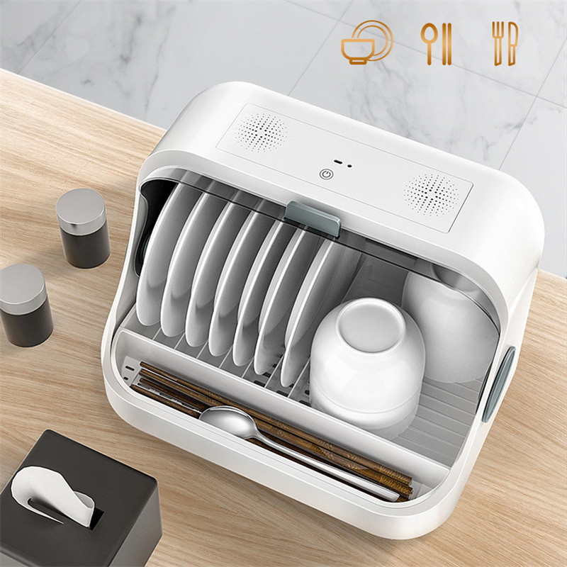 Disinfection Cupboards Kitchen Plate Cup Dish Rack Utensil Cutlery Storage Box Sterilized Tableware Drying Rack Drain Organizer