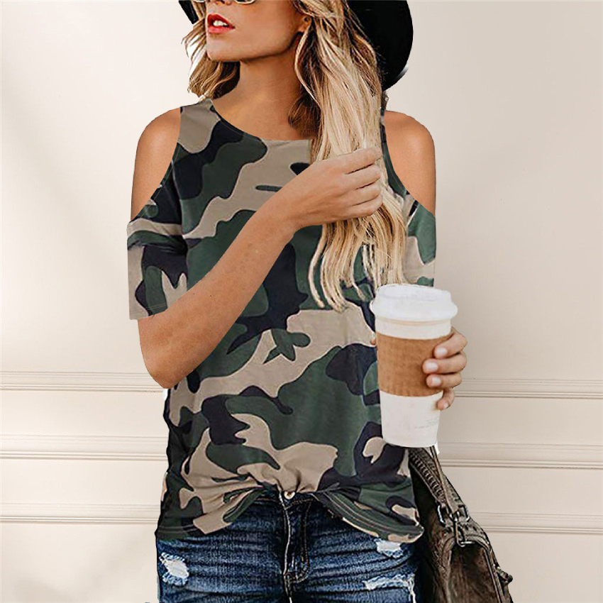 Camouflage T Shirt Hollow Out Tees 2020 Summer Short Sleeve Women Tie Loose T-shirt New Design Summer Tops Tee Casual Female T(China)