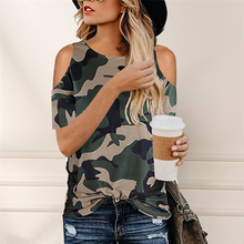Camouflage T Shirt Hollow Out Tees 2020 Summer Short Sleeve Women Tie Loose T-sh