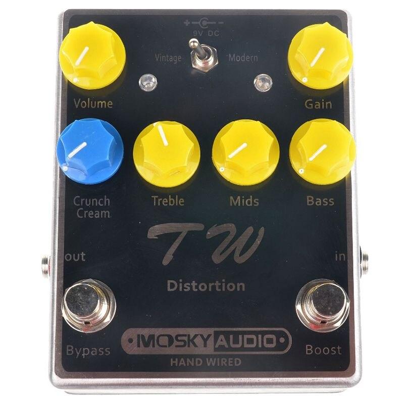Mosky TW distorsion guitare effet pédale de haute qualité avec condensateurs/résistances/IC trois bandes EQ effets