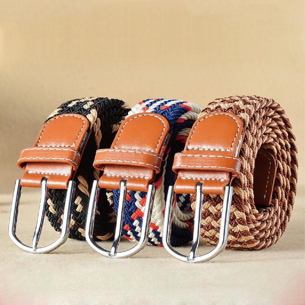 High Quality Men/Women Canvas Pin Buckle Belts Casual Elastic Waistband  Braided Jeans Belt
