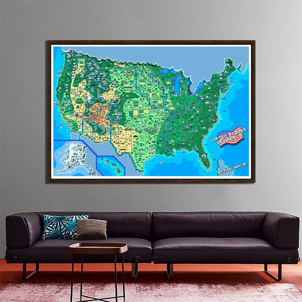 150x100cm Non-woven Map Of The United States Of America Funny Decor Map By Pixeldancer
