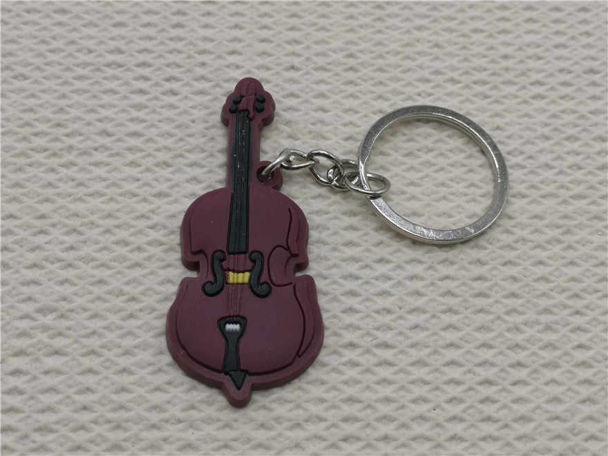 سلسلة مفاتيح صغيرة لطيفة من السيليكون على شكل التشيلو سلسلة مفاتيح السيارة العصرية خاتم مفاتيح آلة موسيقية قلادة للرجال والنساء هدية