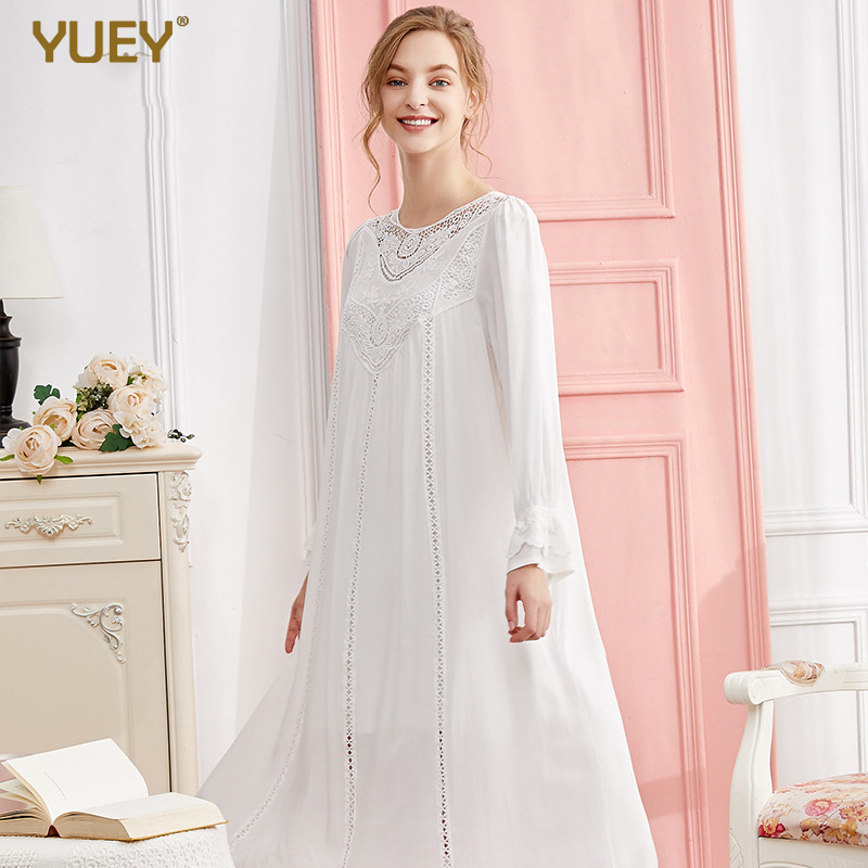 Female Cotton Nightgown Elegant Long Sleeve Princess Long White Sleeping Dress Palace Nightdress Plus Size White Pink Lace
